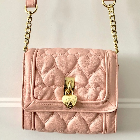 Betsey Johnson Pink Heart Crossbody Bag